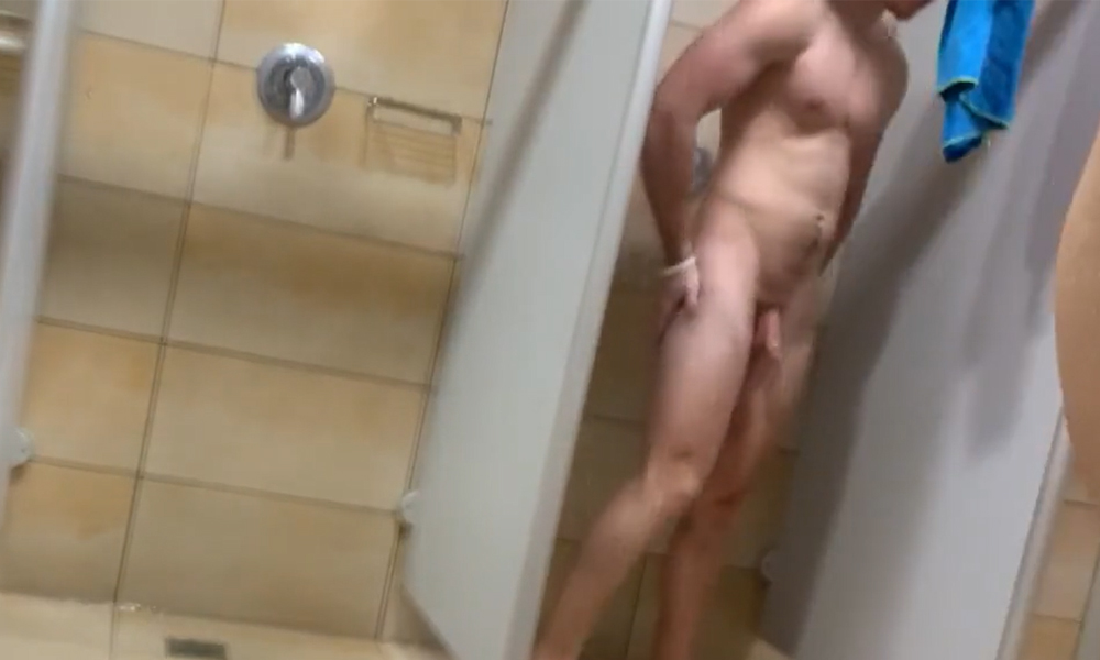 nude man caught in shower
