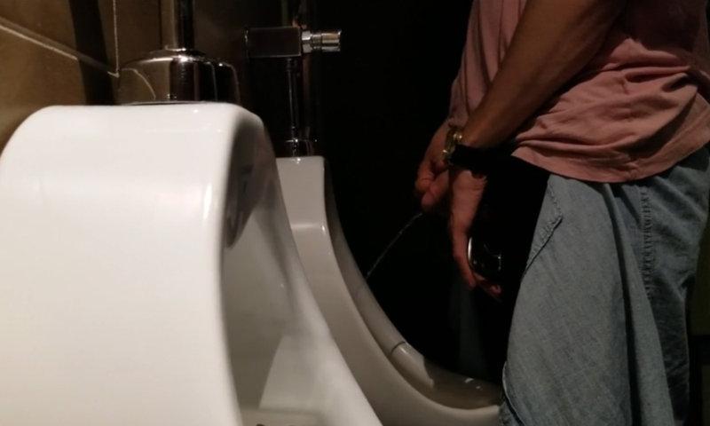 big uncut dick guy caught peeing urinal