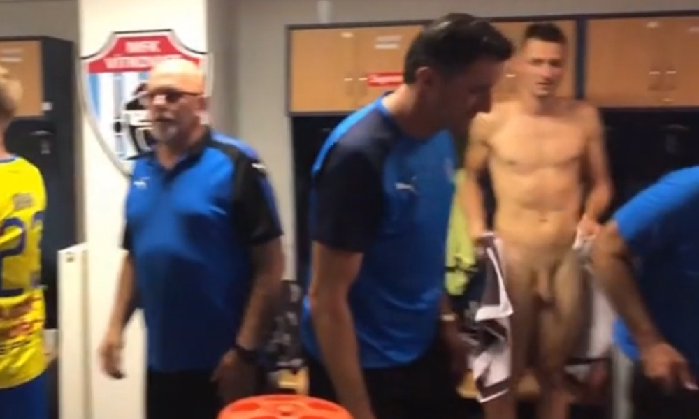 czech footballer accidentally flash cock in locker room