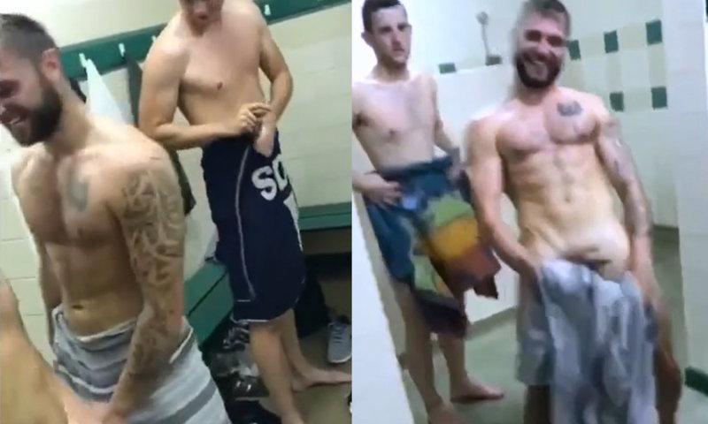 footballer flashing and shaking cock in locker room