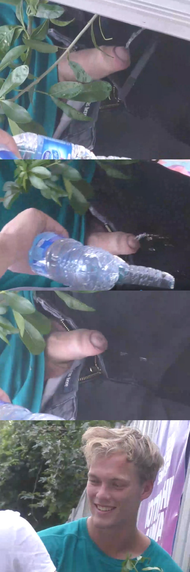 guy caught peeing outdoor during music festival