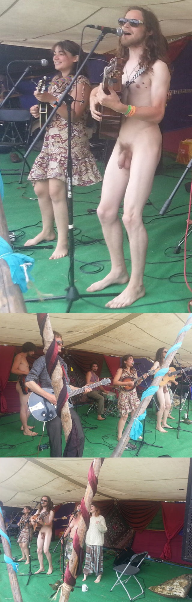 naked band on stage