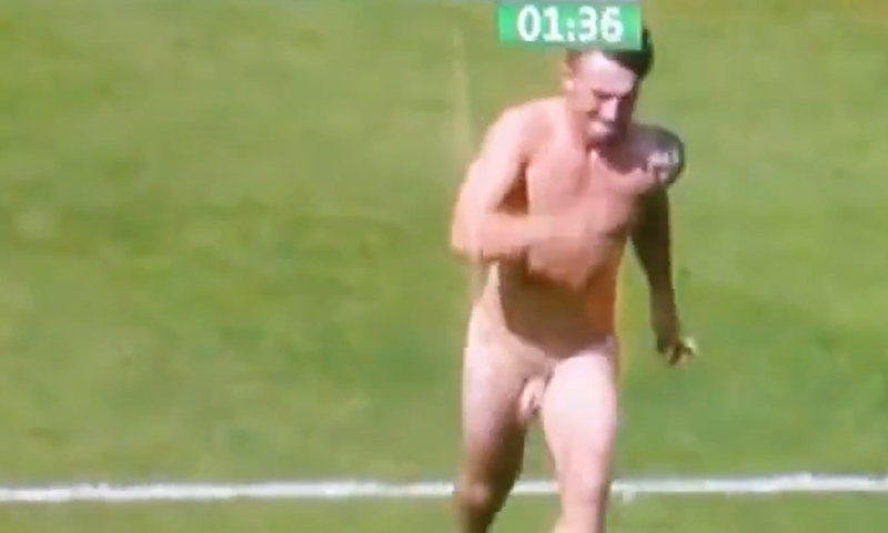 naked streaker on the pitch