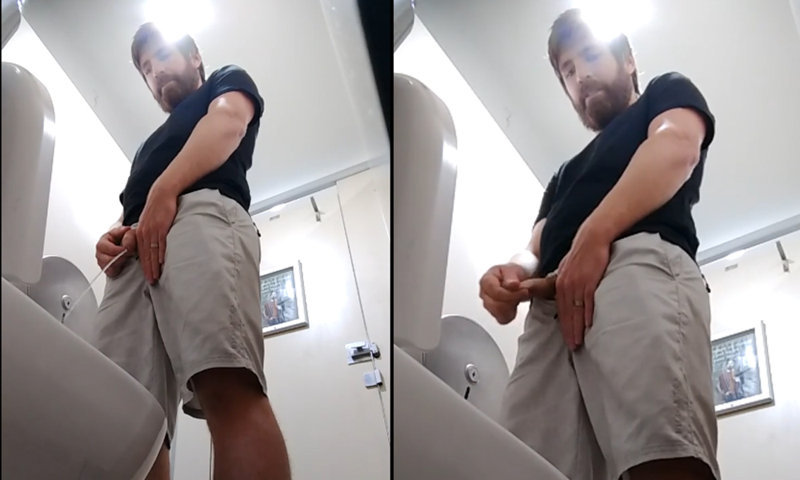 sexy guy caught peeing in public toilet