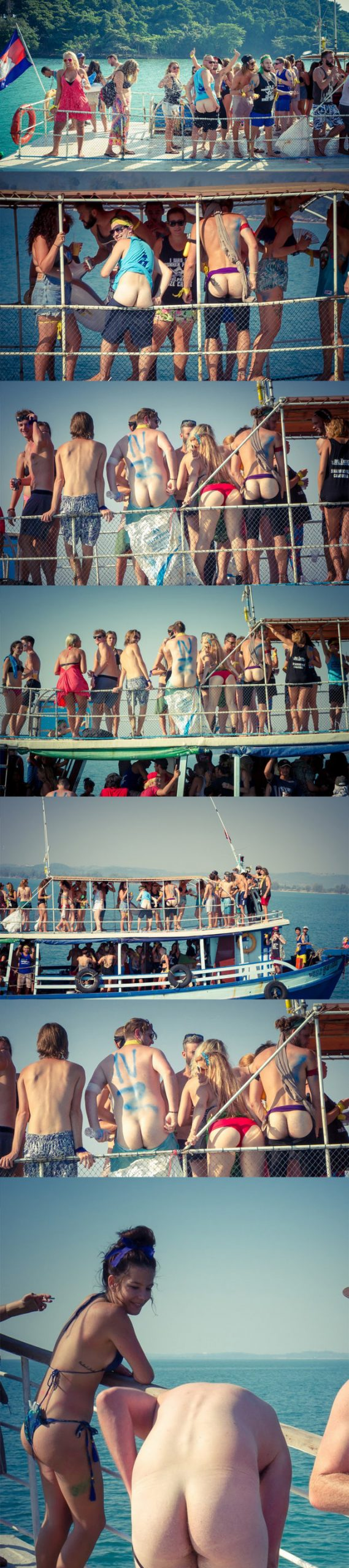 straight guys partying and stripping naked on a boat