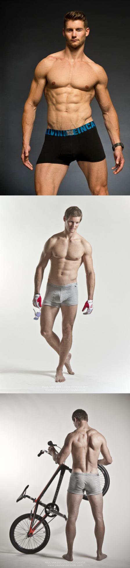 Raymon van der Biezen posing in underwear