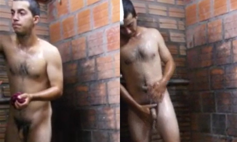 spy on brazilian guy in shower
