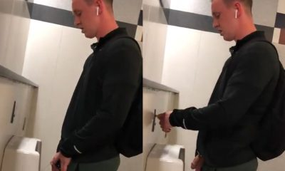 guy with big cut cock peeing at urinal
