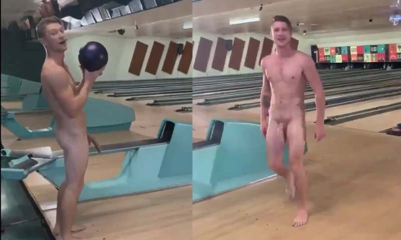 guy with huge cock naked at bowling
