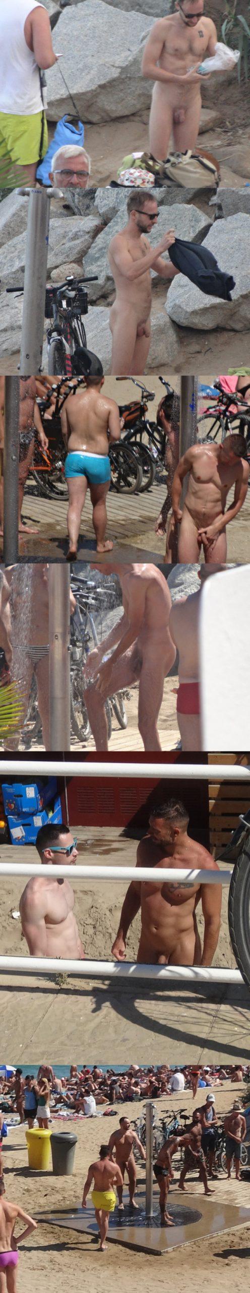nudist guy caught barcelona beach