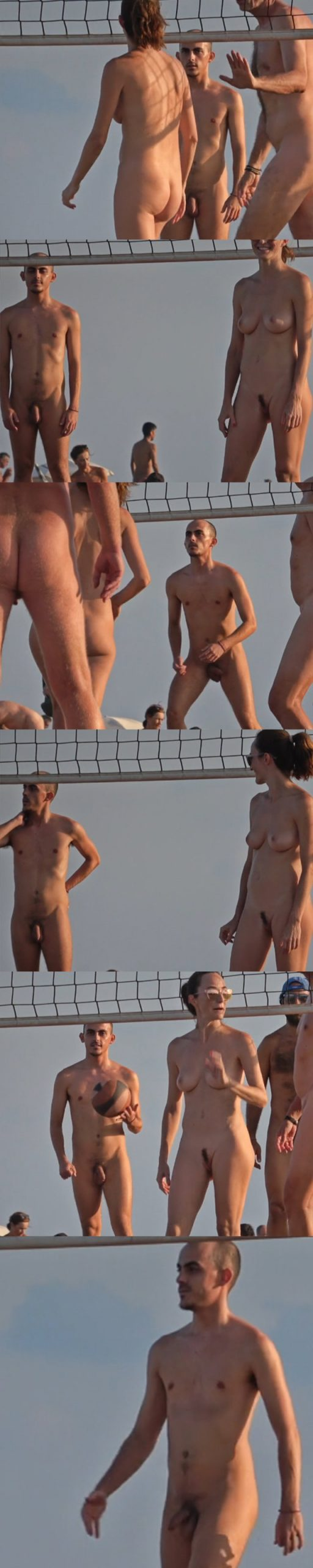 nudist guy caught playing beach volley