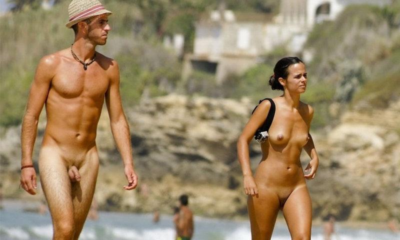 spy on straight nudist man at the beach