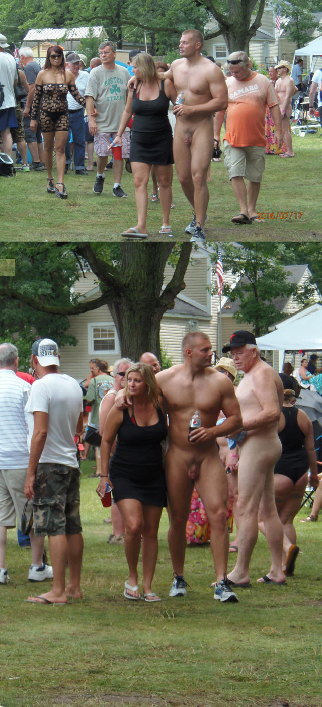 big straight man naked in the park