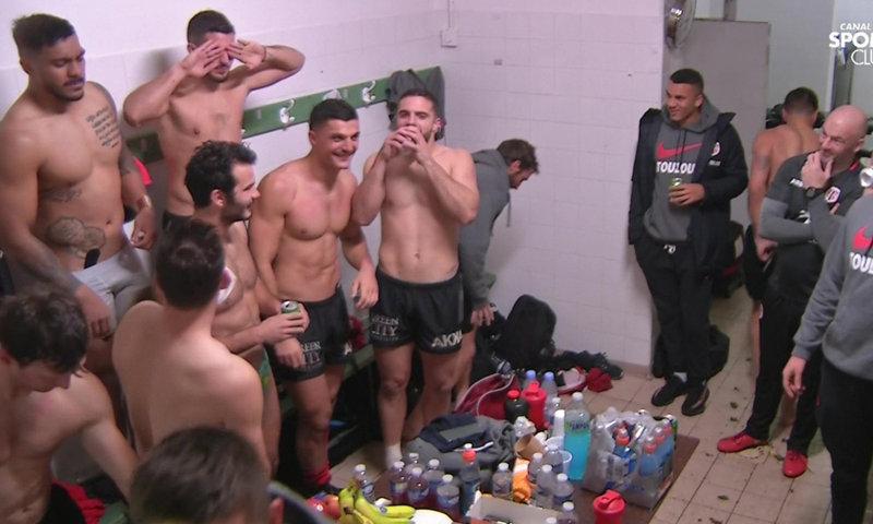 french rugby team underwear in locker room