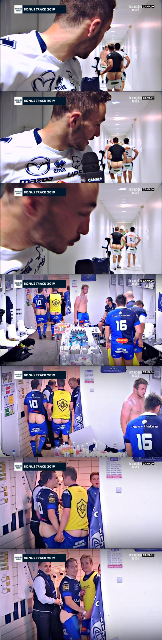 rugby players showing off ass in locker room