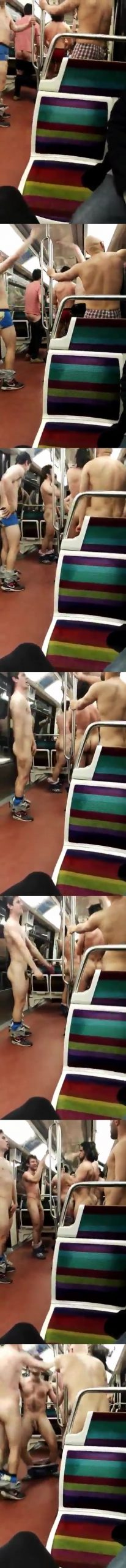 rugbymen partying naked on the metro