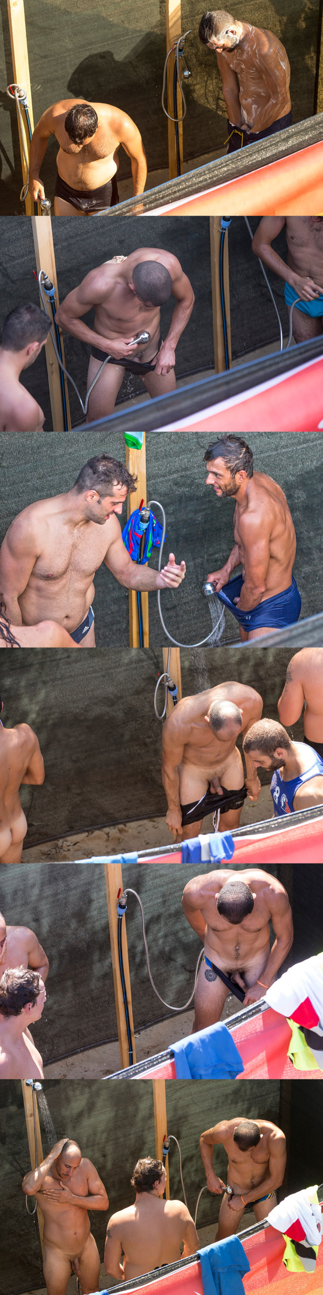 studs caught naked outdoor shower