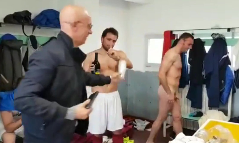 footballers accidental naked locker room during celebration