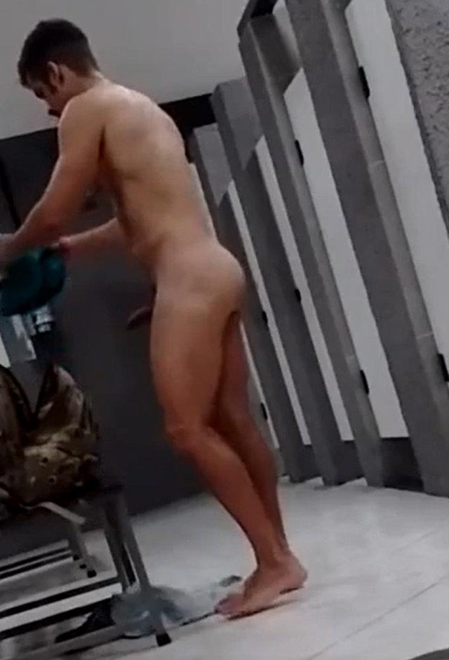 guy getting boner in gym locker room