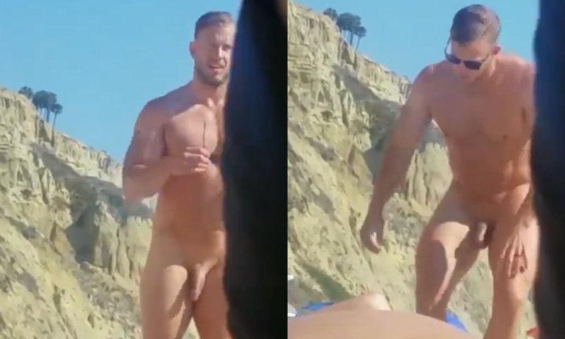 nudist man caught naked beach