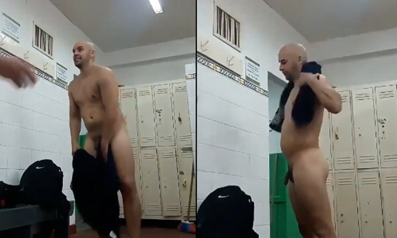 dude caught naked in locker room with friends