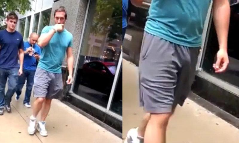 guy caught freeballing in the street