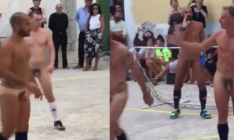 guys playing soccer naked in a square