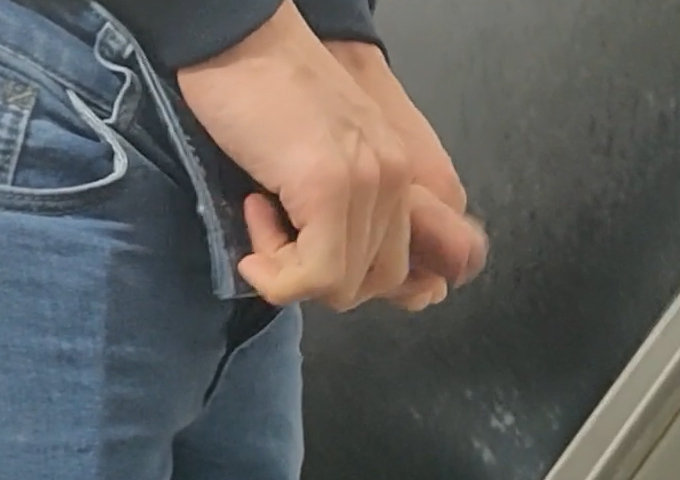 big uncut dick from a man peeing at urinal