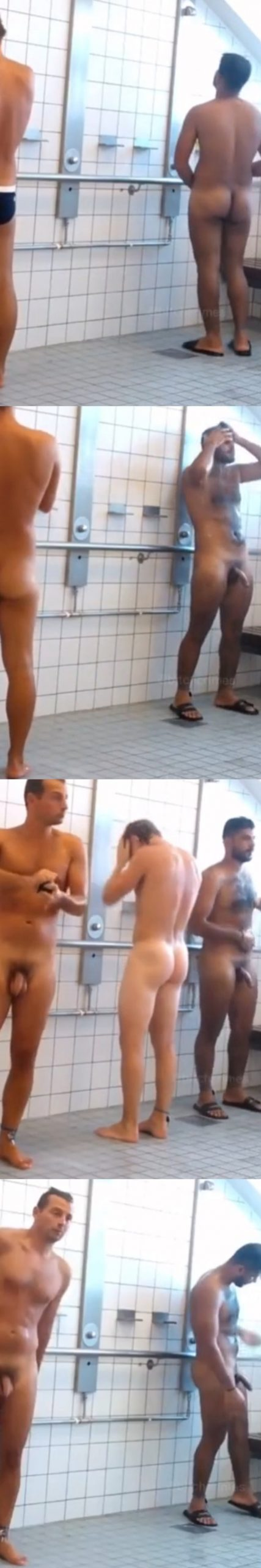 exhibitionist stud showing off boner in gym communal shower