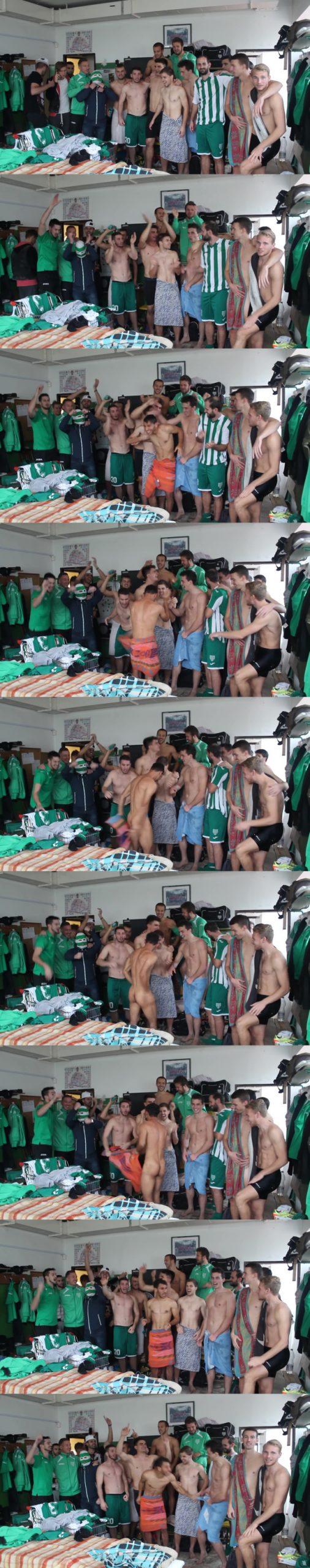 footballers undressing mate in locker room