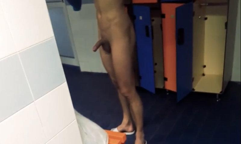 naked guy hardon in locker room