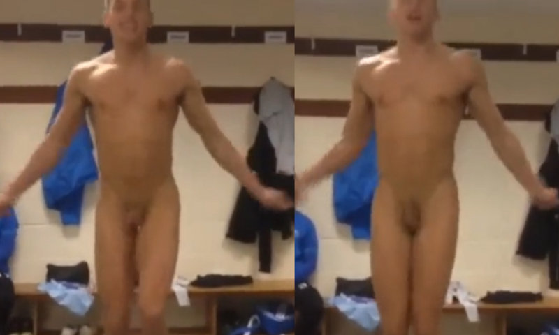 naked guy rope jumping in locker room