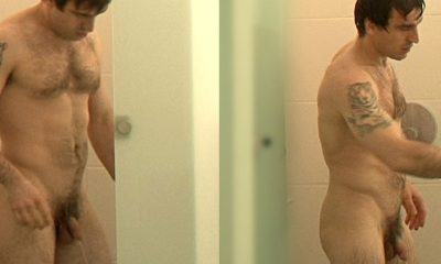 hairy man caught in shower by spycam