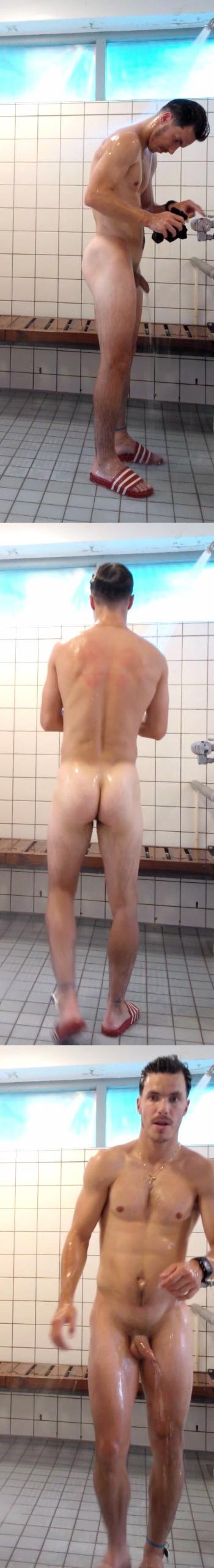 naked uncut guy in gym shower room