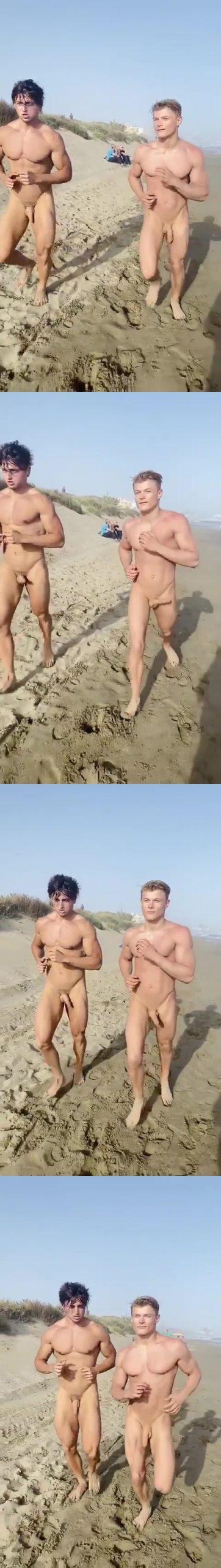 nudist guys running on the beach