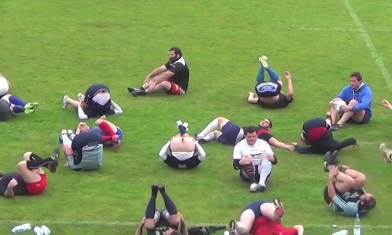 rugby guy flashing ass on the pitch