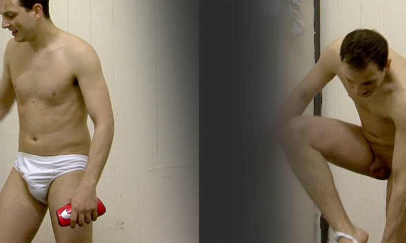 english uncut guy caught naked by spycam in locker room