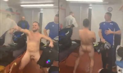 guy shaking cock in locker room