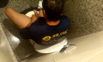 horny man caught wanking in public toilet