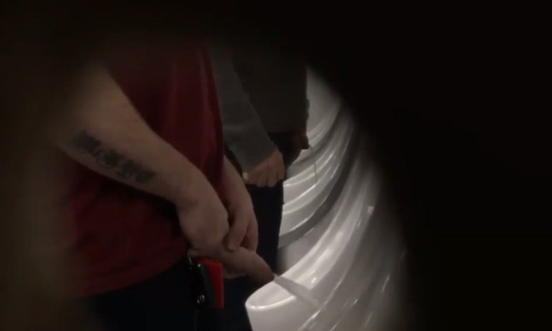 man with thick uncut dick caught peeing at urinals