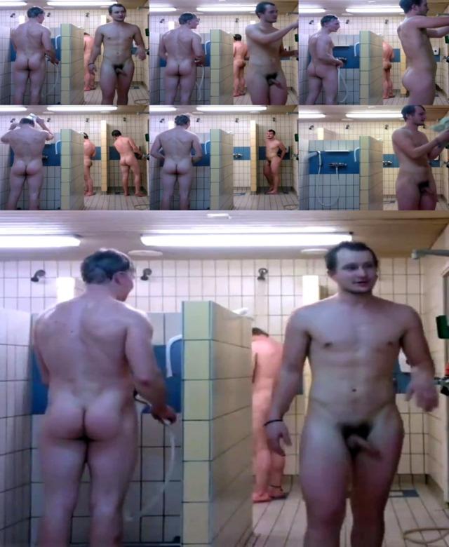 naked men in a shower