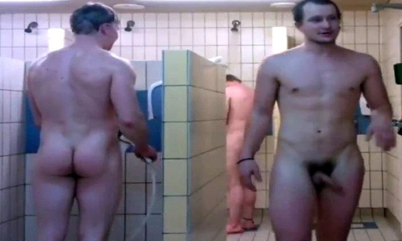 nude men in the shower