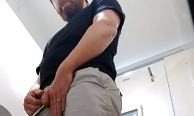sexy hot bearded guy caught peeing in public toilet