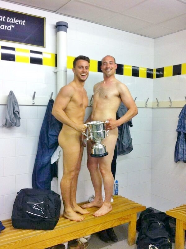two naked guys in the locker room
