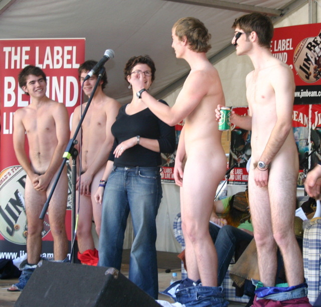 college students naked on stage