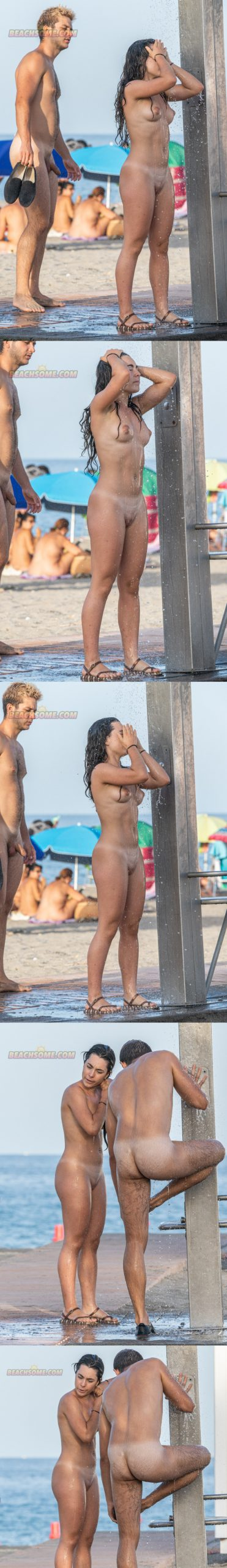 straight nudist guy taking a shower at the beach