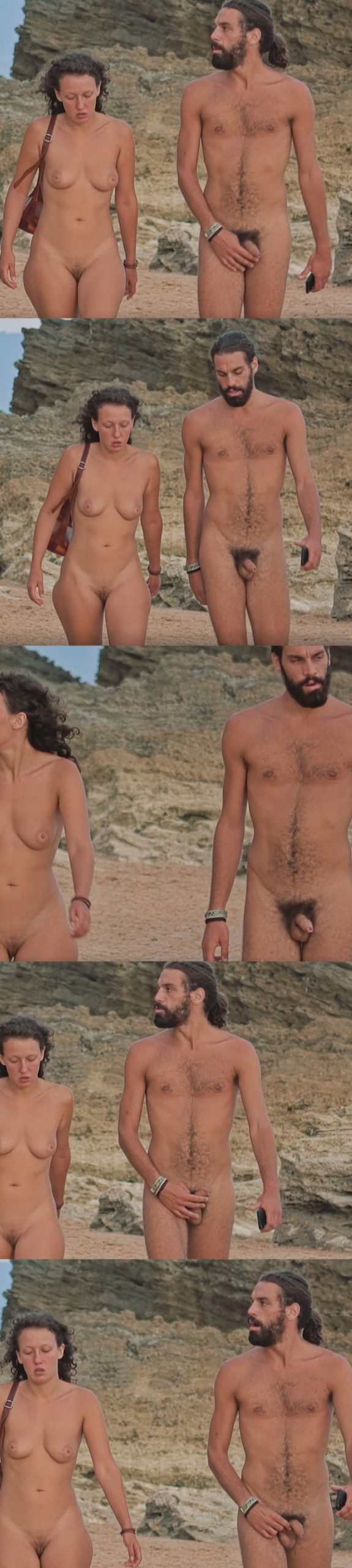 straight nudist man walking on the beach