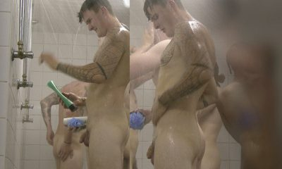 straight tattooed footballer caught naked in shower with other guys