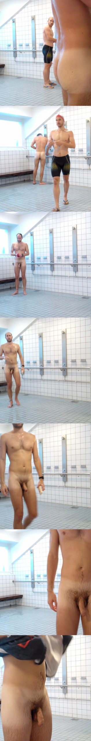 swimmer with big cock caught naked in shower