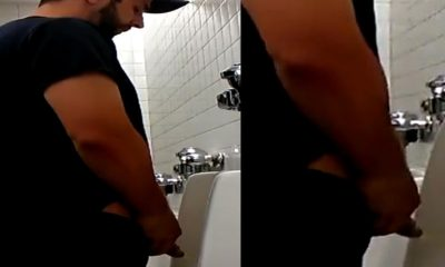big dude with big cock caught peeing at urinal by spycam
